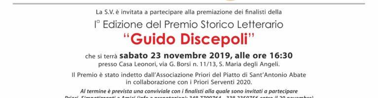 """I° Edizione del Premio Storico Letterario """"Guido Discepoli"""""""